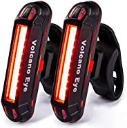 Volcano Eye Rear Bike Tail Light (2 Packs), USB Rechargeable LED Safety Light for Bicycle, Ultra Bright Waterp