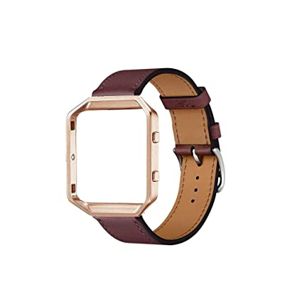 Cailin Compatible for Fitbit Blaze Bands with Frame,Genuine Leather Band with Metal Frame for Fit bit Blaze Smartwatch(Wine red, M)