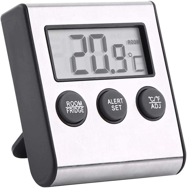 Refrigerator Freezer Thermometer Waterproof LCD Digital Fridge Temperature Room Thermometer with Magnet and Stand
