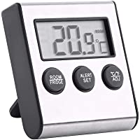 Digital Refrigerator Thermometer, Fridge Temperature Monitor with Larger LCD Display, Mini Freezer Room Thermometer, with Max/Min Temperature Records