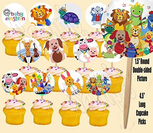 (Baby Einstein Double-Sided Cupcake Picks Cake Toppers -12 pcs)