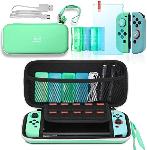 Accessories Kit for Switch Animal Crossing, Include Switch Carrying Case, Silicone Joy Con Covers, Game Card Cases, Tempered Glass Screen Protector, Thumb Grip Caps and USB Type C Charging Cable