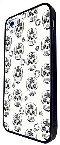 1552 - Cool Trendy Fun Candy Mexican Sugar Skull Tattoo Art Design iphone SE - 2016 Coque Fashion Trend Case Coque Protection Cover plastique et métal - Noir