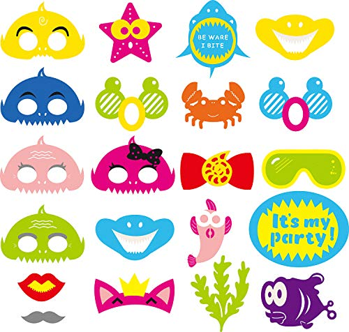 MALLMALL6 Little Shark Photo Booth Props Kit of Funny Selfie Accessories Supplies with Costume Mustache Lips Masks Small Bow Tie for Birthday Themed Holiday Party Time - 21 Count -