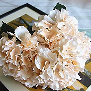 Shine-Co Artificial Hydrangea Flowers 5 Big Heads Bouquet Beautiful Flowers for Office Home Party Decoration 120
