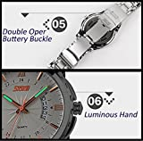 Mens-Silver-Stainless-Steel-Watch-Analog-Quartz-Waterproof-Business-Watches-With-40mm-Case-Roman-Numeral-with-Rose-Gold-and-Luminous-Pointer-White-Dial