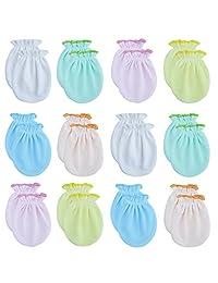 RATIVE Newborn Baby Cotton Gloves No Scratch Mittens For 0-6 Months Boys Girls (Newborn 0-6 Months, 12 Pairs/assorted)