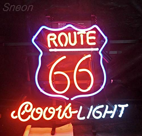 LinC Neon Sign- Route 66 Coors Beer Home Decor Light for Bedroom Garage Beer Bar and Nightclub, Real Glass Neon Light Sign for Wall Decor Art