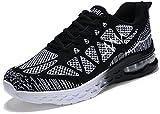 JARLIF Women's Road Running Sneakers Fashion Sport Air Fitness Workout Gym Jogging Walking Shoes Black US8
