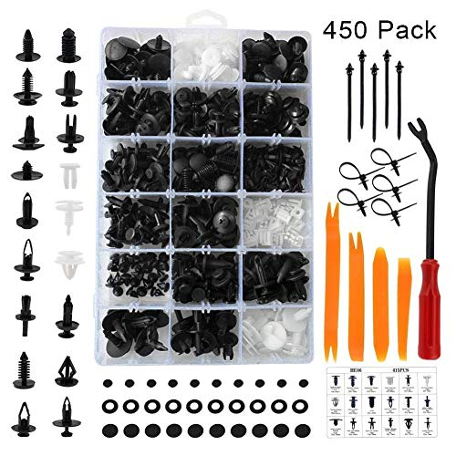 (Car Body Clips, Auto Trim Fastener Retainers, Plastic Bumper Rivets Push in Type, Assorted for Fender Door Panel Dashboard Hood Insulation with Interior Repair Tools (GM Ford Toyota Honda Chrysler))