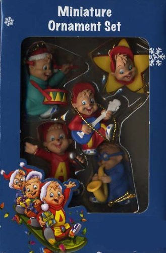 2 inch Alvin and the Chipmunks Miniature Christmas Ornaments - Set of 5