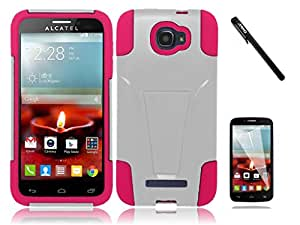 Ooki 3 Item Bundle Combo Dual Hybrid Tuff Case for Alcatel One Touch Fierce 2 / 7040T + Screen Protector + Stylus Pen (White / Pink Fusion)