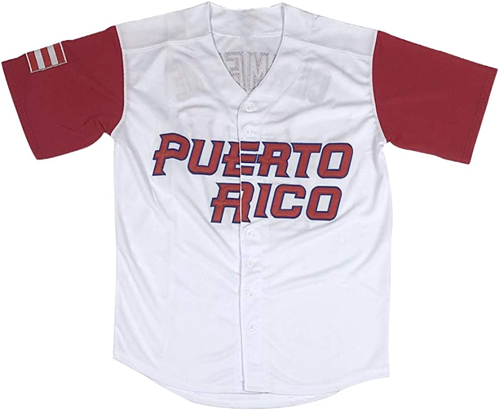 Mens 21 Roberto Clemente Puerto Rico World Game Classic Baseball Jersey Stitched