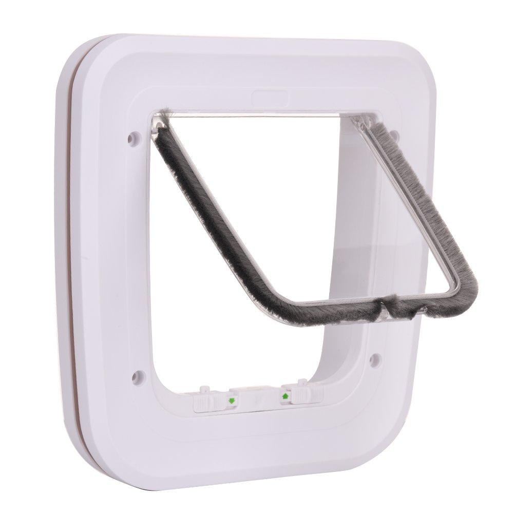 Pet Cat Door Small 4-Way Pet White Door Flap Glass Door Opening Easy Locking for Cats Dogs