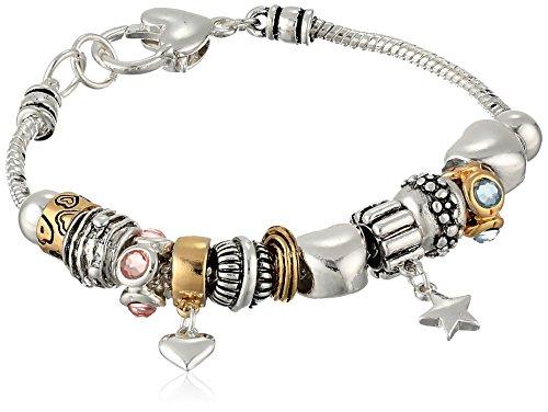 Silver-Tone Hearts and Stars Charm Bracelet, 8
