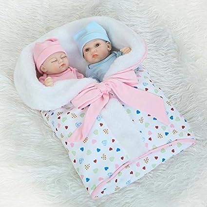 "13/"" CUTEST TWINS BABY DOLLS LIFELIKE REALISTIC NEWBORN DOLL VINYL REBORN GIFTS"