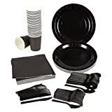 Disposable Dinnerware Set - Serves 24 - Black Party Supplies - Includes Plastic Knives, Spoons, Forks, Paper Plates, Napkins, Cups, Black
