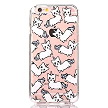 iPhone 6s 6 Cute Unicorn Cat Cartoon Case, GreenDimension Transparent Scratch Resistant Flexible Clear Air Cushion Silicone TPU Bumper Cover + Drop Protection Shock Absorption Hard PC Pattern Cover
