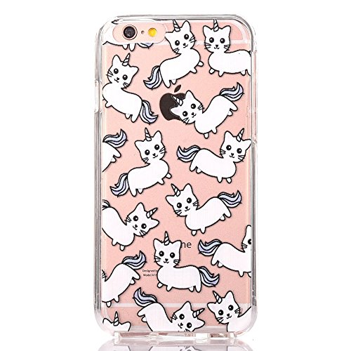 iPhone 6s 6 Cute Unicorn Cat Cartoon Case, GreenDimension Transparent Scratch Resistant Flexible Clear Air Cushion Silicone TPU Bumper Cover + Drop Protection Shock Absorption Hard PC Pattern - Cat Clear