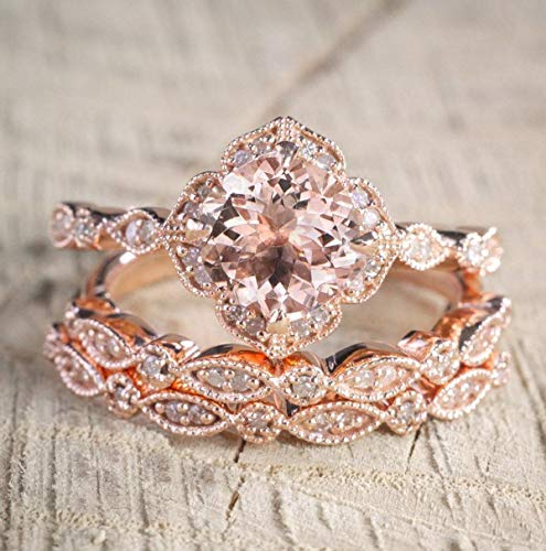(2.25 Carat Morganite and Diamond Trio Wedding Ring Set On Rose Gold with Engagement Ring and Two Wedding Bands)