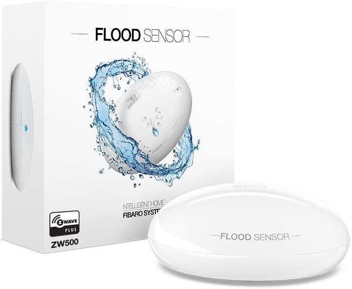 Fibaro FGFS-101 ZW5 FGFS101ZW5 Flood Sensor, Z-Wave Plus Water Leak Detector-FGFS-101, White