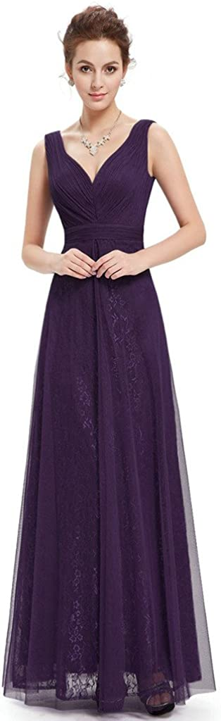 Aurora Bridal Elegant V-neck Long Chiffon A-Line Evening Dress