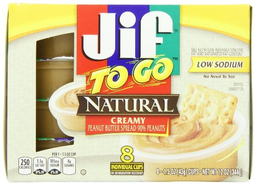 Jif to Go Natural Creamy Peanut Butter 8 Individual Cups (Pack of 2)