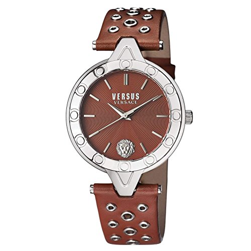 Versus by Versace Women's 'V Versus Eyelet' Quartz Stainless Steel and Leather Casual Watch, Color:Brown (Model: SCM040016)