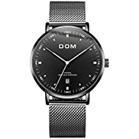DistrictMaster Fashion Ultra Thin Men's Wrist Watch with Stainless Steel Mesh Band (Multiple Colors)