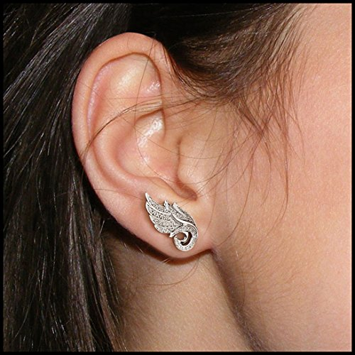 10K Or Blanc Ange plumes Blanc Diamant Boucles d'oreilles (0.22cts)