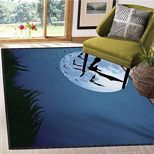 Halloween, Customize Door mats for Home Mat, A Cloud of Bats Flying Through The Night with a Full Moon Fall Season, Floor Mat Pattern 5x7 Ft Night Blue Black Grey -