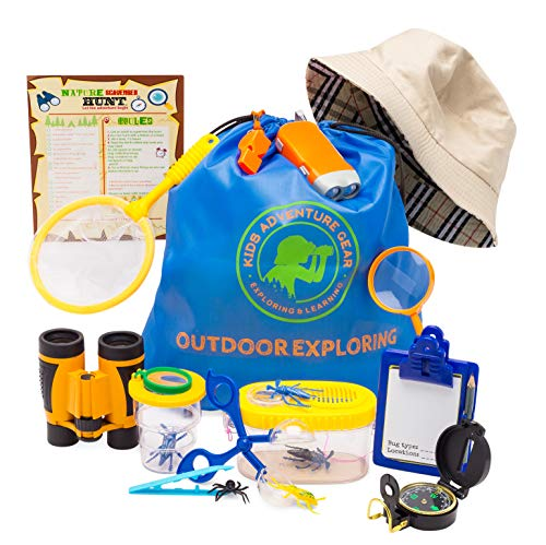 Outdoor Adventure Kit for Kids-20 pc Bug Catching & Explorer Kit-Binoculars-Compass-Magnifying Glass- Bug Catcher Set+Containers-Butterfly Net & Backpack-STEM Gift Set-Camping, Hiking, Boys & Girls