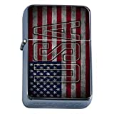 Vintage American Flag Flip Top Oil Lighter D7 Patriotic Freedom American Heroes Veterans
