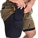 4. EVERWORTH Men's 2-in-1 Bodybuilding Workout Shorts Lightweight Gym Training Short Running Athletic Jogger with Zipper Pockets Brown L Tag 2XL