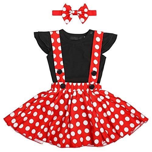 Minnie Mouse Outfit For Halloween (Polka Dots Minnie Costume Romper for Baby Girl Princess 1st Birthday Party,Dress Up w/Overall Suspender Skirt,Mouse Headband 18-24)