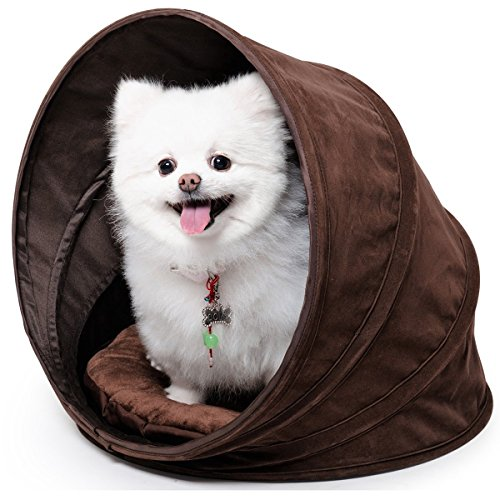 bouti1583 Collapsible Pet House with Removable Cushion Spiral Foldable Dog Cat Bed Tunnel Plush Cave Dia. 13/20/29 - Collapsible Pet House