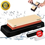 Sharpening Stone, 2 Side Grit Whetstone 1000/6000, Chef Knife Sharpener Stone Holder Set Kit, Waterstone with Nonslip Base, Angle Guide, Fixer Stone for Pocket Knife Kitchen Razor Clippers Axe Blades