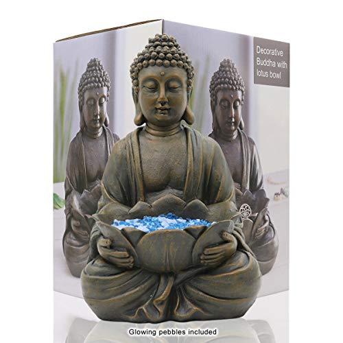 Solar Power Buddha Stone Effect Garden Outdoor Indoor Statue Ornament 12 Inch