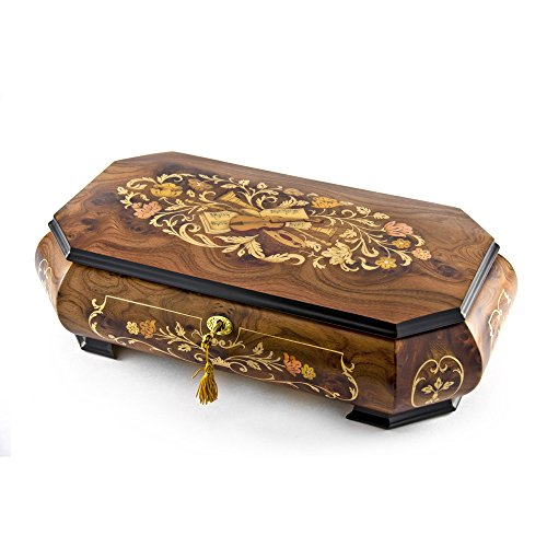 Handcrafted 18 Note Wood Tone Grand Double Level Music Theme Musical Jewelry Box - Rock of Ages - Christian Version by MusicBoxAttic