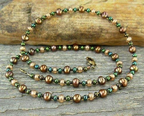 (Copper-Bronze Pearl Necklace with Czechoslovakian Glass Spacers)