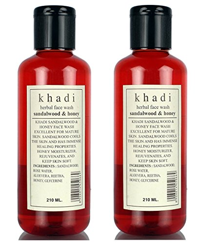 Khadi Herbal Sandal and Honey Face Wash, 210ml (Pack of 2)
