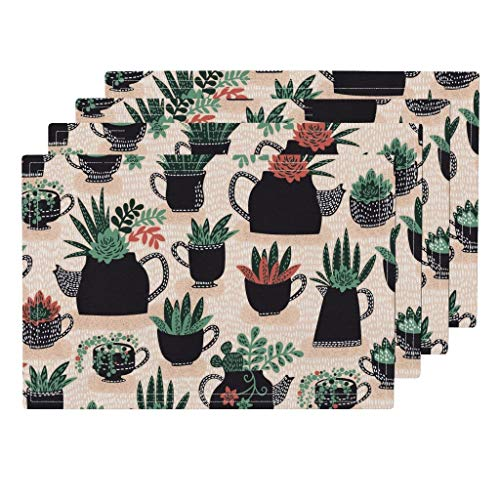 Roostery Succulents 4pc Linen Cotton Canvas Cloth Placemat Set - Succulents Teapot Pink Botanical Succulents Tea Teapot Green Plants Greenery Botanical Pink by Cynthiafrenette (Set of 4) 13 x 19in