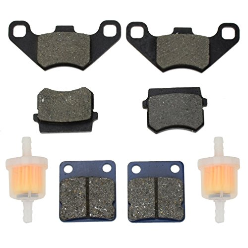 HIAORS Front Rear Brake Pad and Fuel Filter for Hammerhead Twister 150 GT GTS SS 250 157QMJ 1P57QMJ Tomberlin 150cc Buggy TrailMaster 150 XRS Go Kart 4 Wheeler
