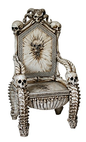 Pacific Giftware Dark Ruler of The Underworld Skull Throne Chair 57 Inch Tall