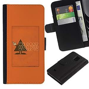 Be Good Phone Accessory // Caso del tirón Billetera de Cuero Titular de la tarjeta Carcasa Funda de Protección para Samsung Galaxy S5 Mini, SM-G800, NOT S5 REGULAR! // Polygon Triangle Text Funny Orange
