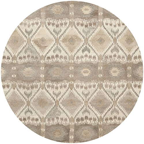 Round Contemporary Natural - Safavieh Wyndham Collection WYD720A Handmade Natural and Multi Wool Round Area Rug, 7 feet in Diameter (7' Diameter)