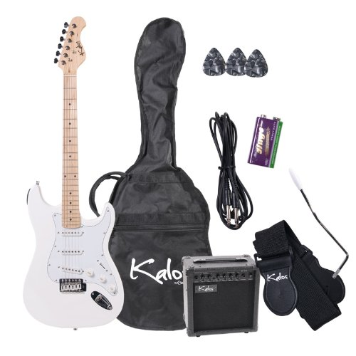 Kalos EGP-WH 39-Inch Electric Guitar with 15-Watt Amp, Gig Bag, 3 Picks, Strap, Amp Cable, and Tremolo Arm – Full Size – Pearl White