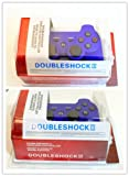 SET OF TWO -HPP BRAND Double Shock 6 Axis Wireless Bluetooth Sony PS3 Game Controller - BLUE