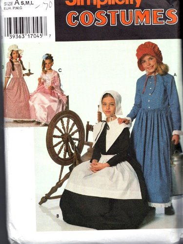 Simplicity 9708 Child039;s Purtian Costume - Pattern Dress Marie Antoinette