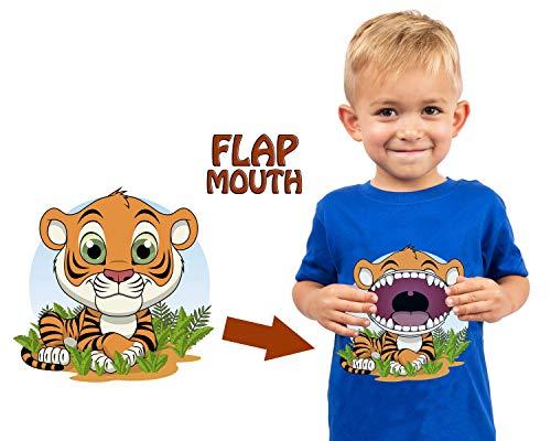 Flap Lion - Kids T-Shirt Zoo Safari Aquarium Animal Themes (Interactive Flap Mouth) (2T, Tiger)